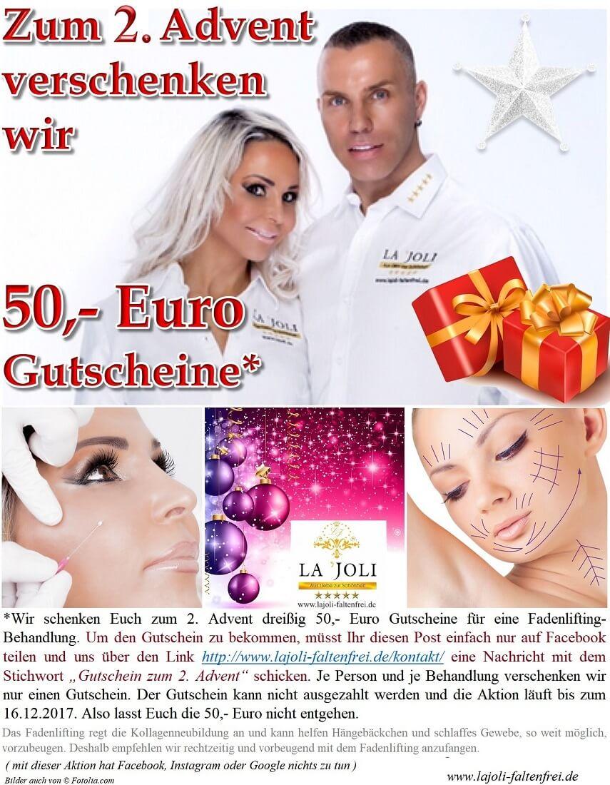 LAJOLI Weihnachts-Geschenkaktion zum 2. Advent 2017 - LAJOLI Praxis für Ästhetik in Hamburg - Fadenlifting