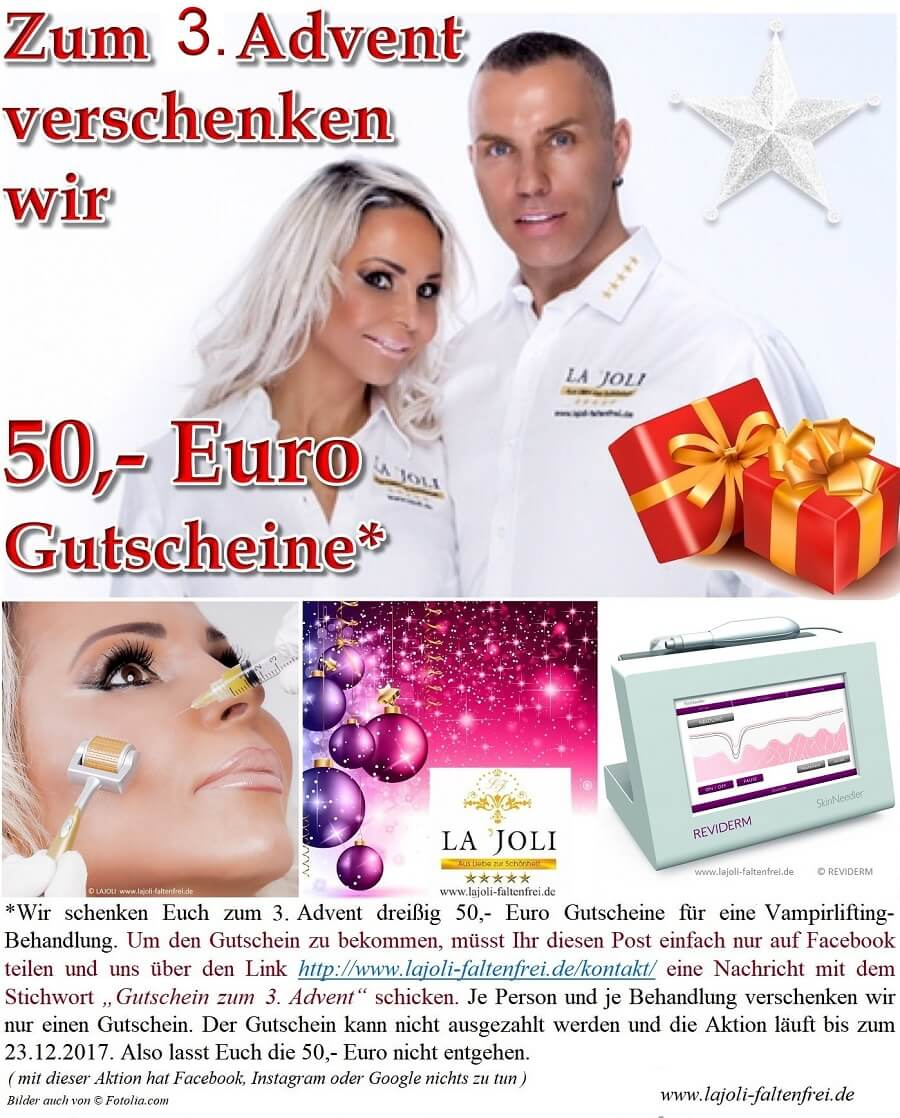 LAJOLI Weihnachts-Geschenkaktion zum 3. Advent 2017 - LAJOLI Praxis für Ästhetik in Hamburg - Vampir-lifting & MicroNeedling