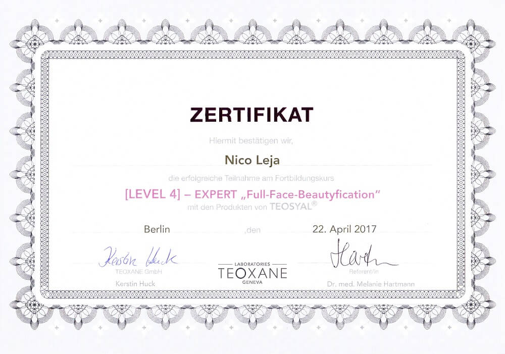 MasterClass Full-Face-Beautyfication Faltenunterspritzung - Expert Level 4 Workshop in Berlin - medical Kurs