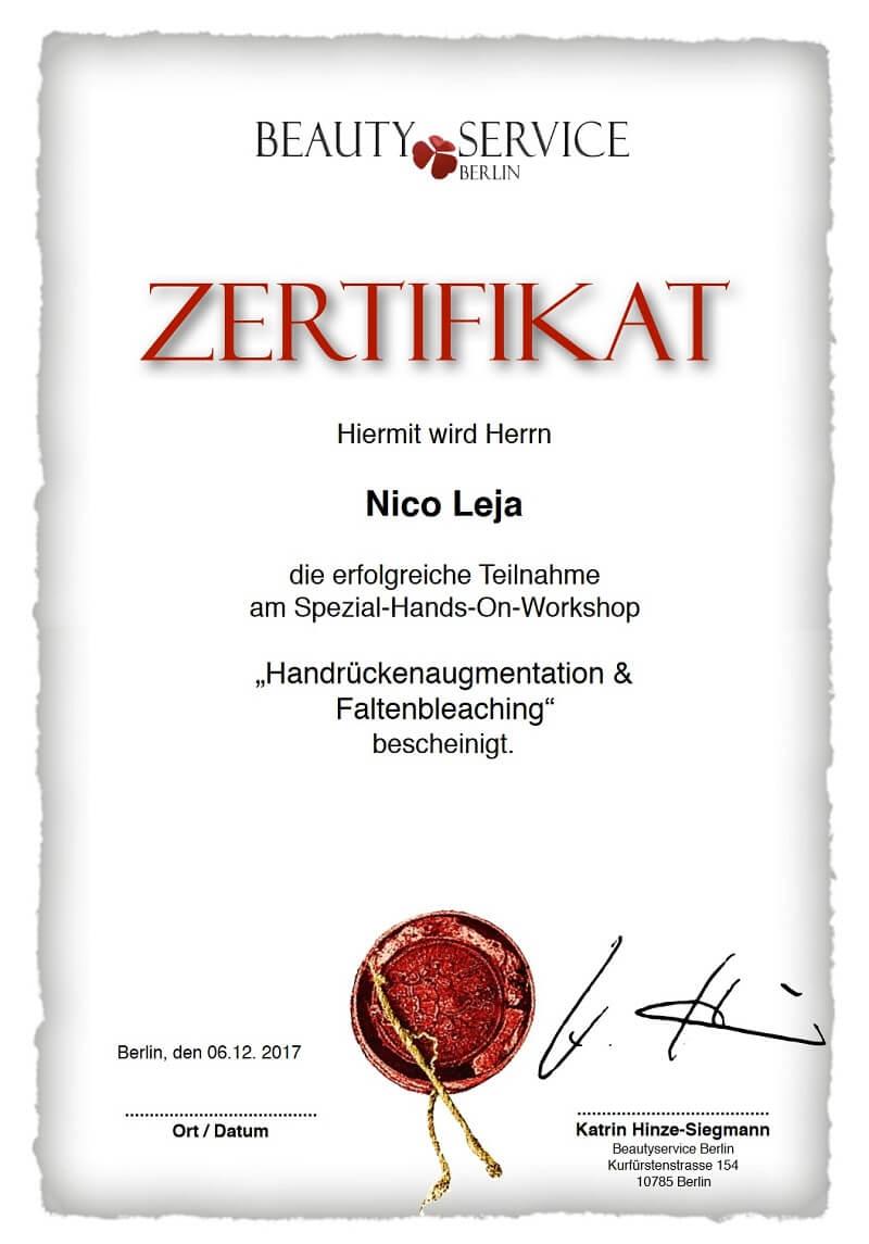 MasterClass Workshop - Faltenbleaching & Handrückenaugmentation - Faltenunterspritzung, Botox - LAJOLI Praxis Leja