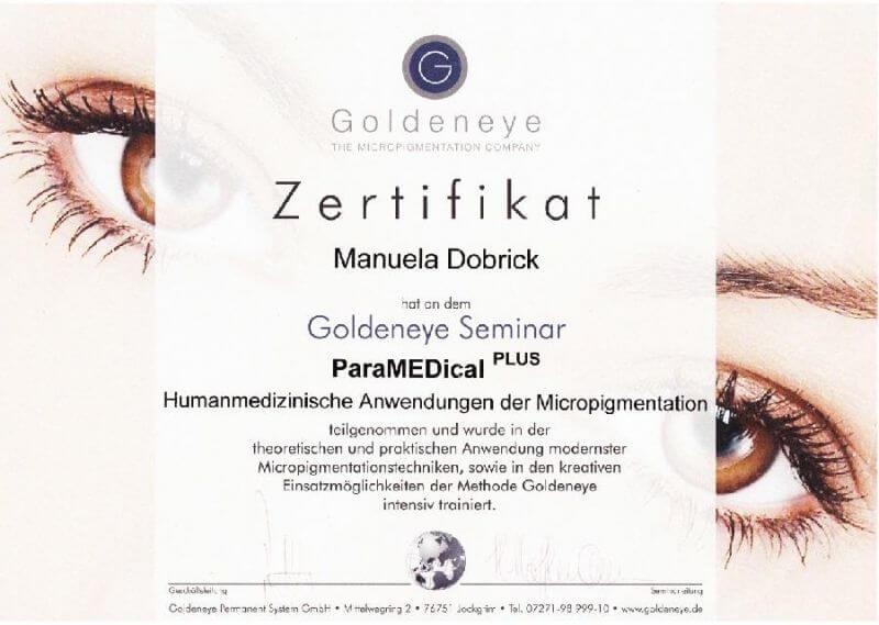 LAJOLI Permanent Make Up - Zertifikat Paramedical humanmedizinische Micropigmentation Goldeneye - Manuela Leja Augenbrauen, Lippen, Lidstrich