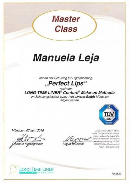 LAJOLI Permanent Make Up MasterClass Zertifikat bei Long-Time-Liner - Lippen/ Perfect Lips - Manuela Leja 2018
